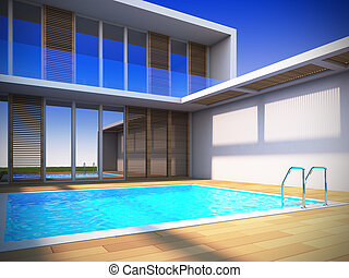 Modern house in minimalist style - A 3D illustration of...
