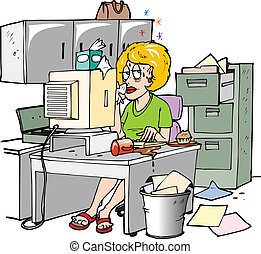 sick at work - A woman sitting at her desk visibly sick...