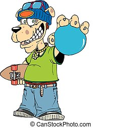 skate dog - A young dog character holding a skate board...