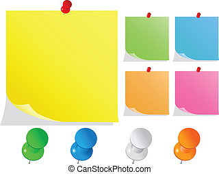 Vector Post-It Notes with Push Pins on white backround
