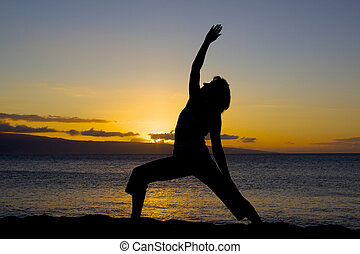 Yoga on Beach in Sunset