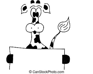 cow illustration - funny back and white cow hold a sign