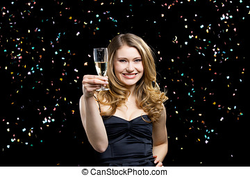 celebration and party - young elegant woman in party and...
