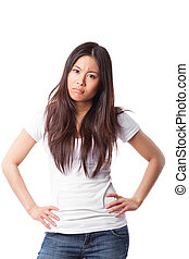 Angry asian woman - An isolated shot of an angry and pouting...