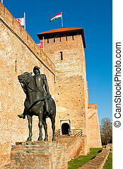 The castle in Gyula with sculpture of a knight