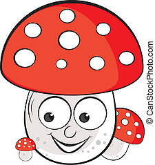 Acrylic illustration of Toadstool. Illustration on white...