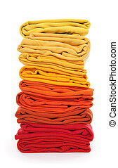 Pile of red and yellow folded clothes - Joyful laundry Pile...