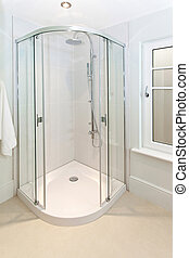 Corner shower - Open glass door at shower in corner