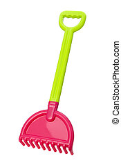 Toy Beach Rake (clipping path) - Toy Beach Rake isolated...