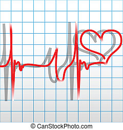 Heartbeat - Illustration heart and heartbeat as a symbol of...