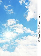 blue sky - sunny blue sky with white fluffy clouds