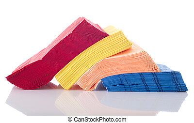 Napkins - colorful row of napkins isolated on white...