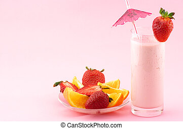 Strawberry protein cocktail and fruits