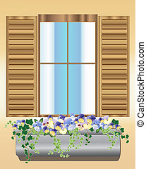 pansy window box - an illustration of a wooden window with...