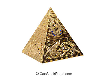 Pyramid - statuette of an Egyptian Pyramid on a white...