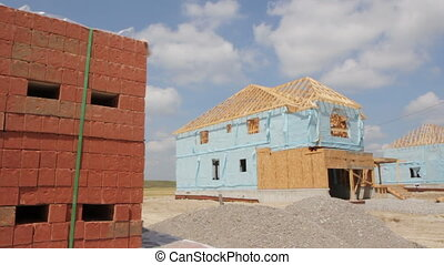 House construction with bricks.