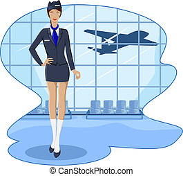 Air Hostess - illustration of air hostess in airport lounge...