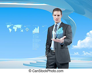 Data on a palm - Young businessman navigating in virtual...