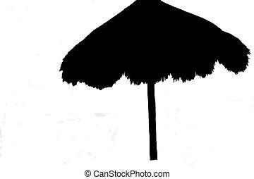 Silhouette palapas - Silhouette detail of beach palapas