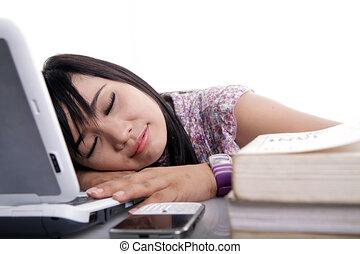 computador portatil, asiático, hembra, sueño