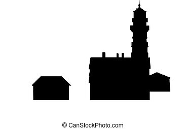 Silhouette lighthouse - Portland Maine coastline lighthouse...