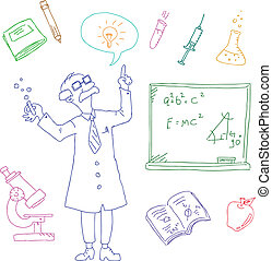 laboratory doodles - set of doodles related to science and...