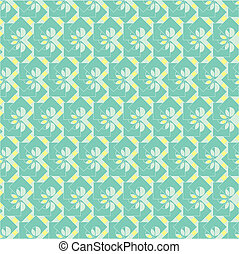 seamless aqua stripe - distinctive floral pattern on aqua...