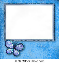 butterfly blue frame - blue frame with a butterfly and white...