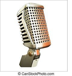 Professional Microphone Over Black Vector - Vintage...