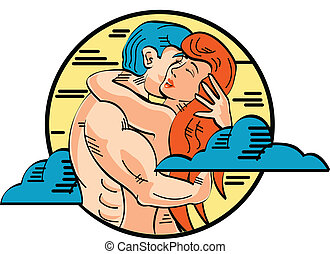 Romance Adam And Eve Love Pop Art - Romance or romantic...