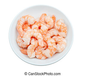 prepared shrimp in a bowl  isolated