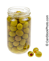 A jar of stuffed green olives isolated on a white background