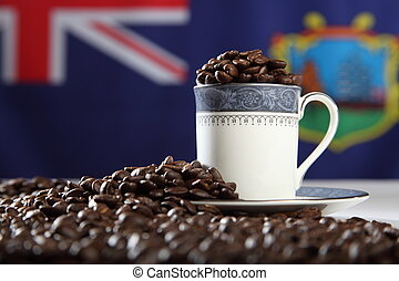 St Helena coffee beans with flag - Cup overflowing with rich...