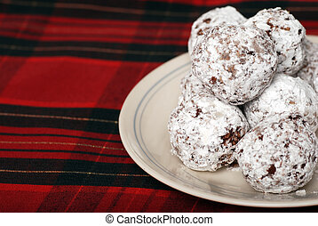 baked chocolate coconut snowballs - closeup baked chocolate...