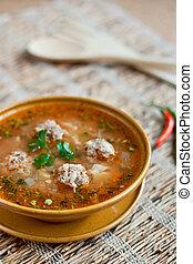 Meatballs sour soup
