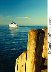 Ship at the pier - A the ship is approaching the pier in...