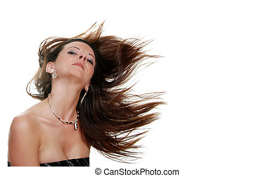 brunette woman her hair blowing - isolated brunette woman...