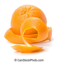 Orange with double skin layer isolated on white background....