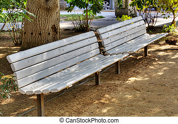 Two white benches Park hdr - HDR image of two white park...