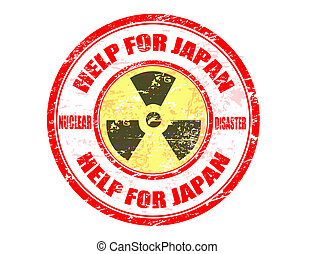 Help Japan stamp - Red grunge rubber stamp with the text...