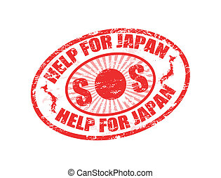 Help for Japan stamp - Red grunge rubber stamp with the text...