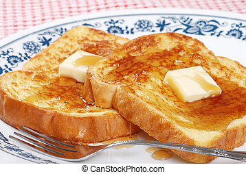 closeup french toast and syrup - closeup french toast with...