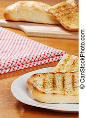 closeup garlic bread