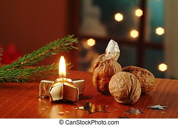 Christmas still life - Surprise in a walnut shell