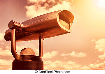 Viewing binoculars - A picture of steel binoculars over...