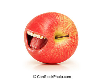 Funny concept with red apple and open mouth