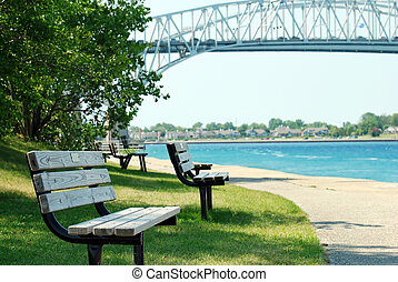 park bench Sarnia ontario - scenic view of park bench Sarnia...
