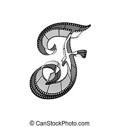 Filmstrip font. Front view. Letter f - The alphabet from a...