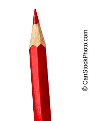 Red pencil isolated on white  background close up