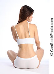 Fit healthy body of woman in white - Beautiful young...